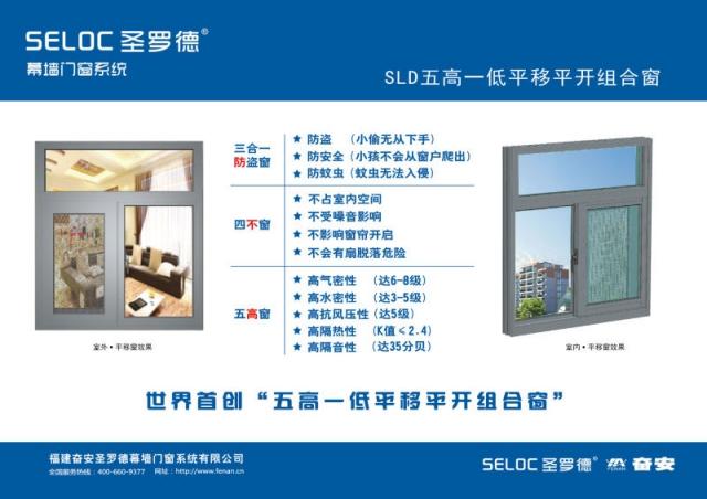 奋安铝业世界开创五高一低平移平开窗